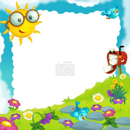 Happy and colorful frame with field and postbox for the children. with space for text