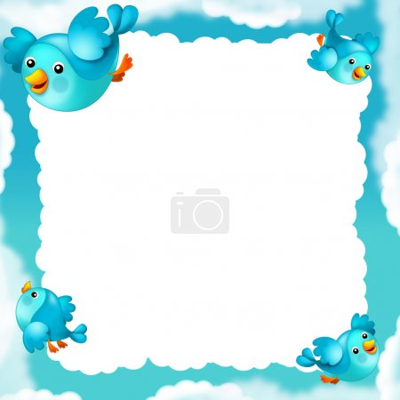 Frame, border with blue birds and clouds. illustration for the children