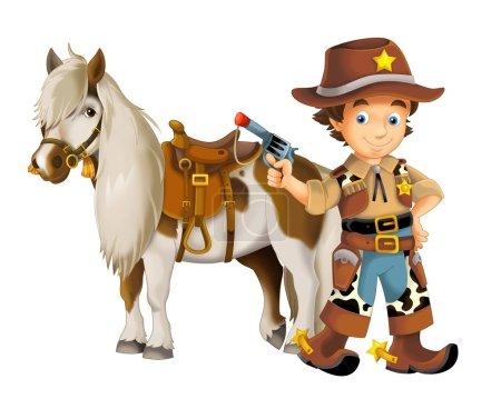 Photo pour Cowboy avec cheval et fusil - illustration pour les enfants - image libre de droit