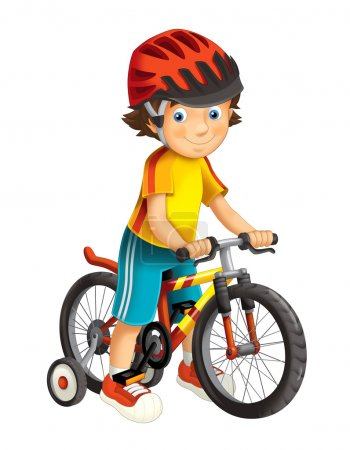 Photo for Cartoon boy on a bicycle - illustration for the children - Royalty Free Image