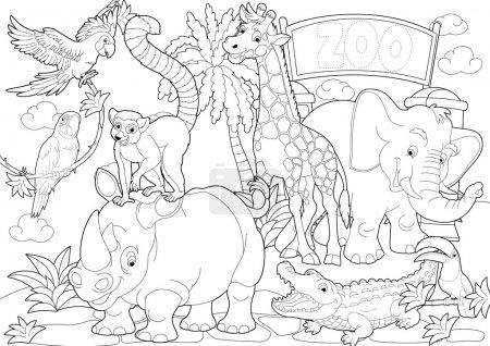 Photo pour Coloriage - le zoo - illustration pour les enfants - image libre de droit