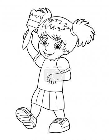 Photo pour Coloriage - peinture enfant - illustration pour les enfants - image libre de droit