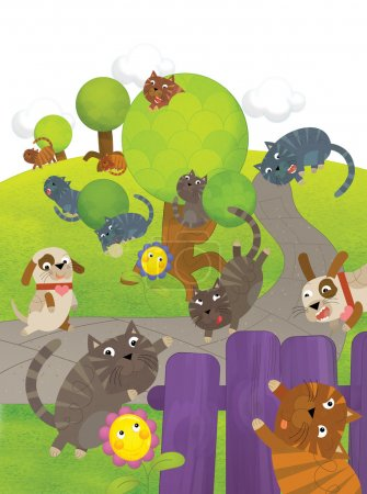 Photo for The cartoon cat outdoor - illustration for the children - Royalty Free Image