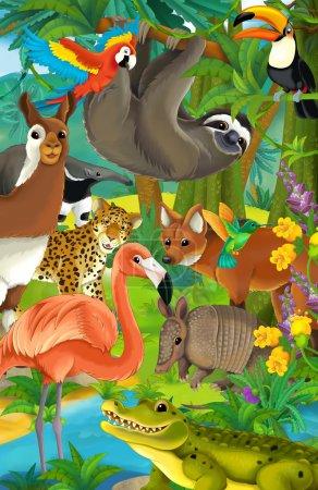 Foto de Animales de dibujos animados en la selva - ilustración para los niños - Imagen libre de derechos