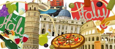 Photo for National elements of  Italy - illustration for the children - Royalty Free Image