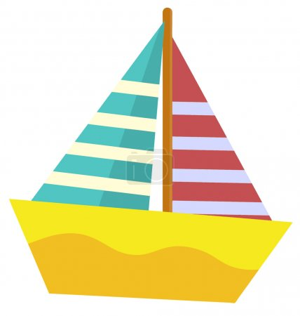 Photo for Cartoon sea element - sailing boat - illustration for the children - Royalty Free Image