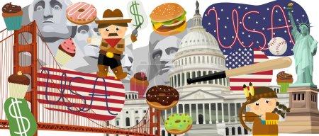 Photo for National USA elements - illustration for the children - banner form illustration - Royalty Free Image