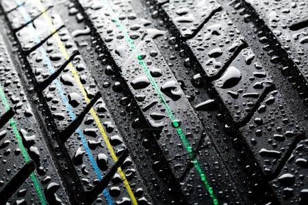 Rain on summer car tire