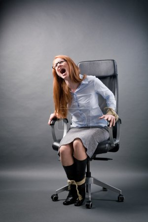 Tied Up Businesswoman Shouting for Help