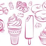 Vector illustartion of various sweets...