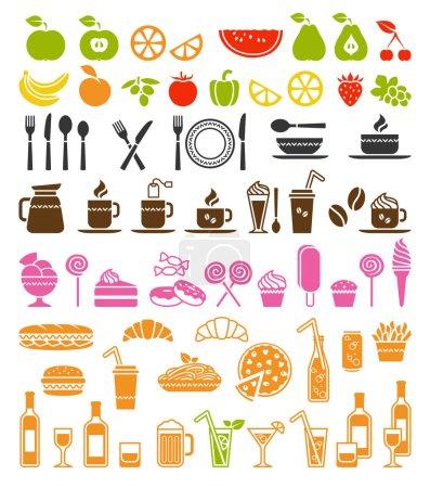 Photo pour Grand ensemble vectoriel d'icônes alimentaires et de boissons - image libre de droit