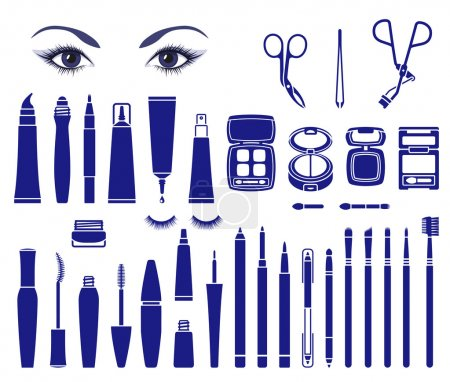 Illustration for Isolated vector symbols of cosmetics for beautiful eyes - Royalty Free Image