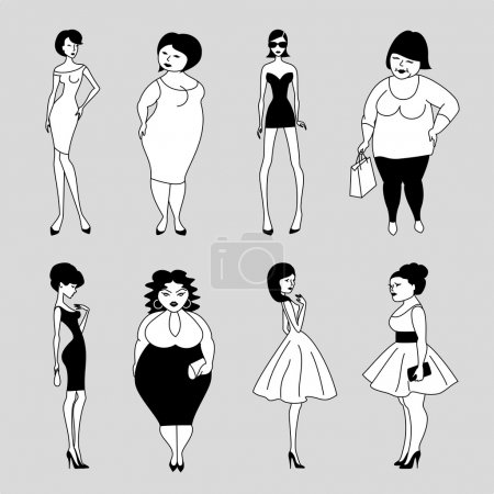 Illustration for Set of vector cartoon slim and fat fashion women - Royalty Free Image