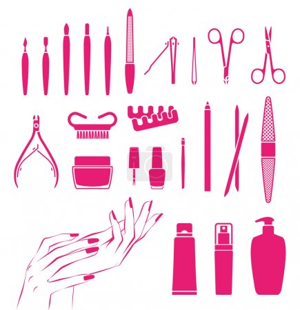 Illustration for Vector icons of cosmetics and tools for beautiful hands and nails - Royalty Free Image