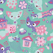 Cute funny seamless pattern with cats and fishes