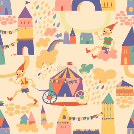 Seamless pattern with houses for children's background. Seamless
