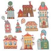 Set of outline hand drawn buildings in vintage style
