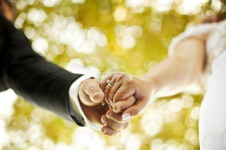 Photo pour Juste un couple marié, tenant la main et marchant dans la nature - image libre de droit
