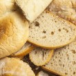 Many slices of stale bread and other stale baked g...