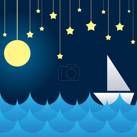 boat at sea waves, moon and star
