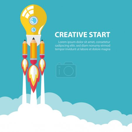 Photo for Art launch light bulb and pencil rocket with sky space. Creative start concept. Vector illustration. Flat design - Royalty Free Image