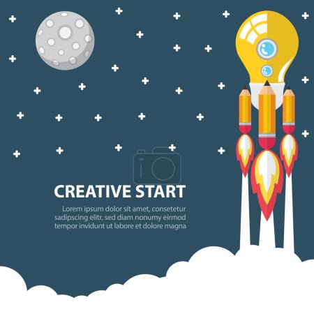Photo for Art launch light bulb and pencil rocket with moon, star, sky space. Creative start concept. Vector illustration. Flat design - Royalty Free Image