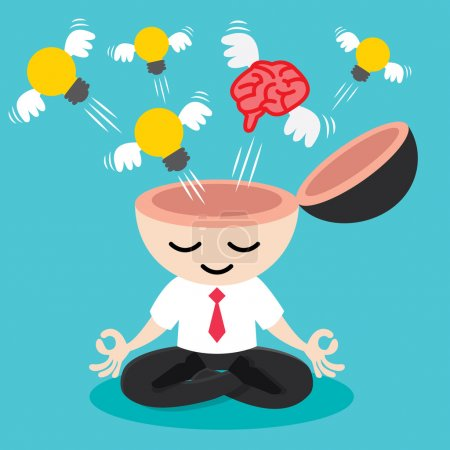 Illustration for Light bulb and brain with wing flying from businessman meditation. Building idea concept. Cartoon design Vector illustration - Royalty Free Image