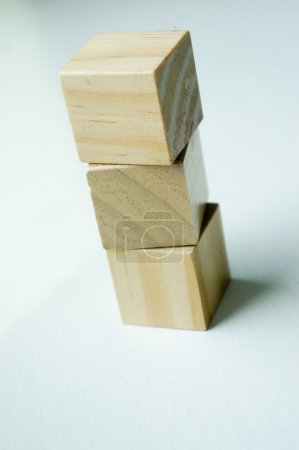 Old play wooden blocks