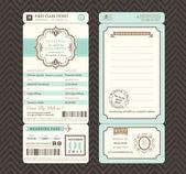 Vintage style Boarding Pass Ticket Wedding Invitation Template V