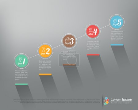 Illustration for Modern business step by step options infographics Vector graphic design template - Royalty Free Image