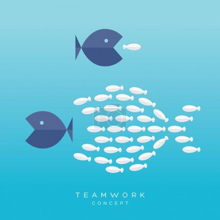 Big Fish Small Fish Teamwork Concept