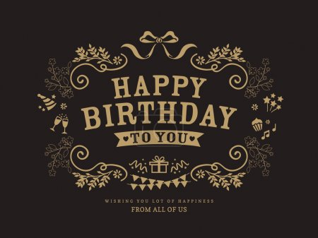 Illustration for Birthday card design vintage style template - Royalty Free Image
