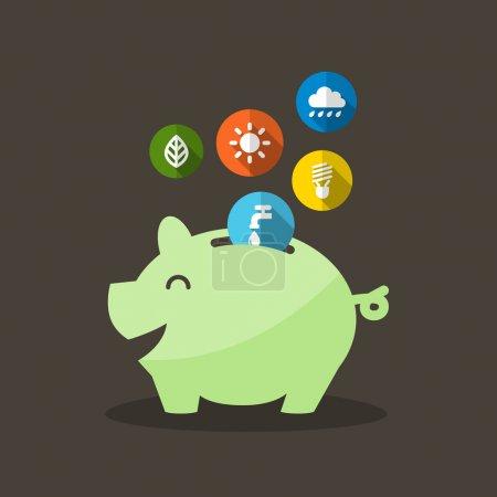 Illustration pour Économie d'énergie avec Piggy Bank Illustration vectorielle - image libre de droit