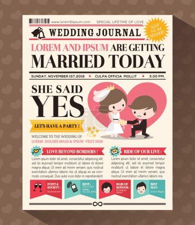 conception de carte de journal mariage invitation de dessin animé