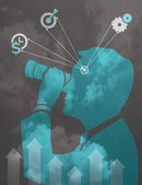 Man with binocular business vision concept vector illustration