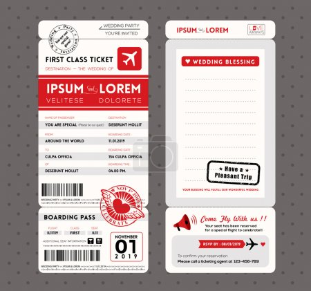 Modern Boarding Pass Wedding Invitation design Template Vector