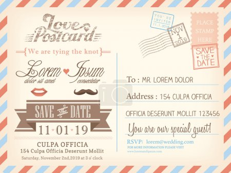 Illustration for Vintage airmail postcard background vector template for wedding invitation card - Royalty Free Image