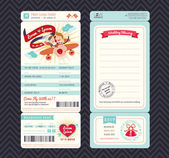 Cartoon Boarding Pass Ticket Wedding Invitation Template Vector