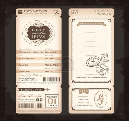 Illustration pour Vieux style Vintage Embarquement Pass Ticket Carte de mariage fond - image libre de droit