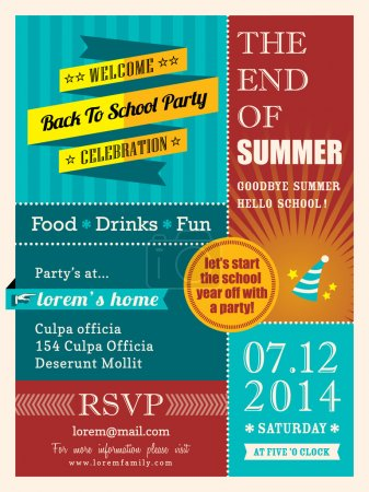 Illustration for End of summer party poster or card vector design template layout - Royalty Free Image