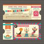 Birthday card with Circus Ticket pass design Templ...