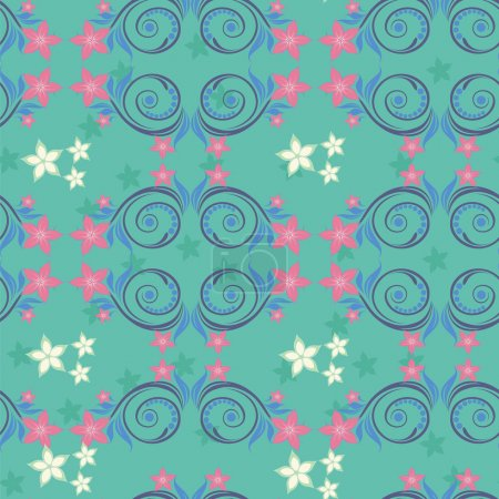 Turquoise seamless pattern with pink flowers.