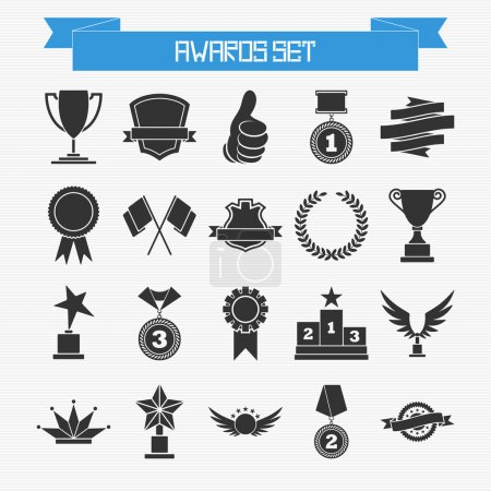 Illustration for Vector set of trophies and awards for your design - Royalty Free Image