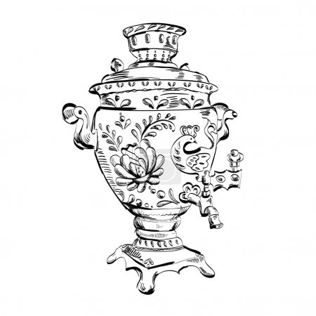 Vector illustration of a Russian samovar. Vector...