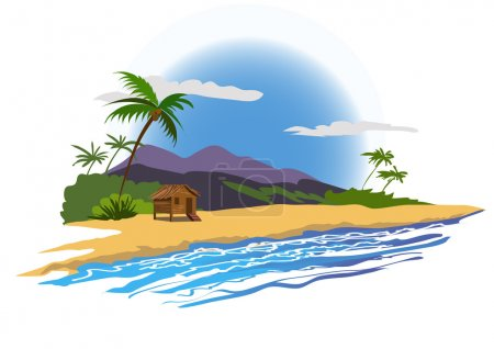 tropical beach with house