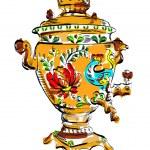 Russian colorful samovar, vector, sketch, tea, ill...