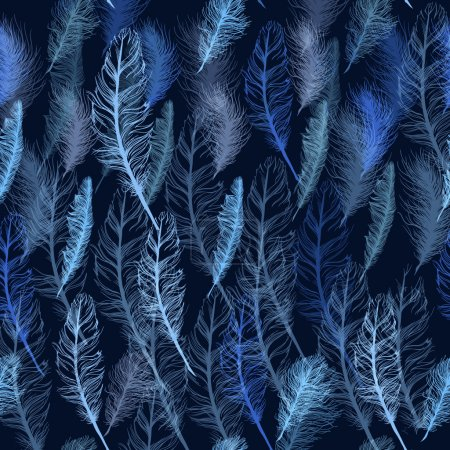 Illustration for Set of seamless pattern vector feathers. EPS illustration - Royalty Free Image