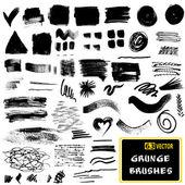 Vector set of grunge brush strokes  Monochrome