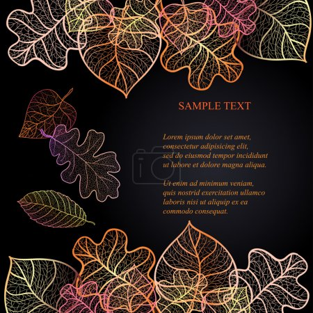 Ornamental background with art autumn leaves on the dark purple background with place for your text.