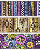 Set of unique seamless pattern and borders Vector ethnic ornaments